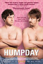 poster for humpday the movie showing to white shirtless men wearing jeans and looking at each other with their arms crossed