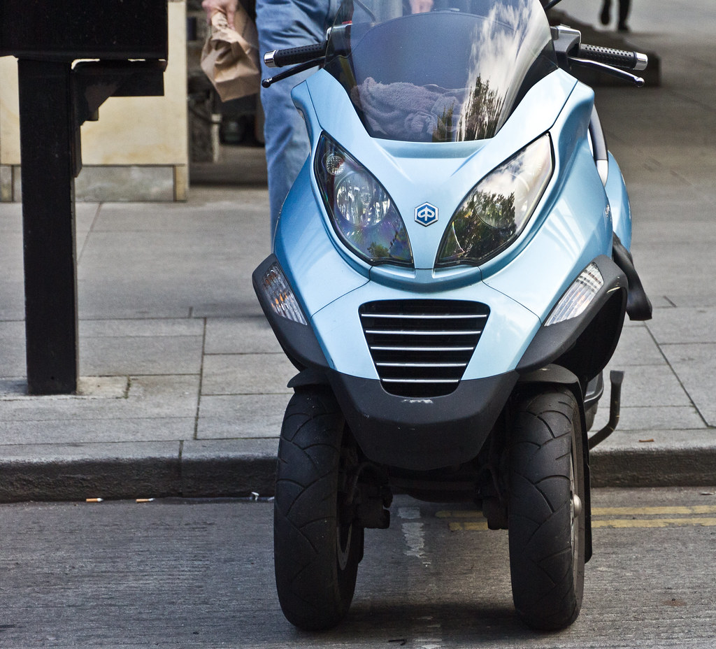 The Piaggio MP3 is a tilting three-wheeled scooter