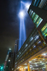 September 11, 2011: The 2011 Tribute in Lights as seen from under the Brooklyn Battery Tunnel (RBudhu) Tags: nyc newyorkcity ny newyork worldtradecenter 911 september112001 twintowers gothamist neverforget groundzero newyorknewyork lowermanhattan tributeinlight 7wtc 911memorial 7worldtradecenter freedomtower 9112010