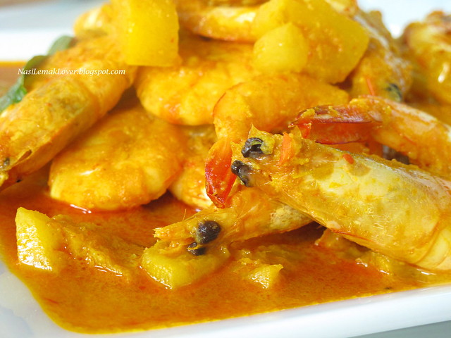 Nyonya prawns and pineapple curry
