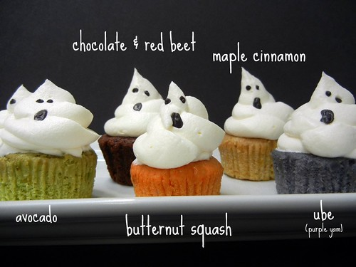 ghost cupcakes in fall flavors