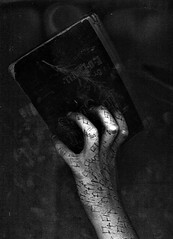 Flip (Kristen Leigh Photo) Tags: white black dark book holding hand pages eerie creepy flip flipping