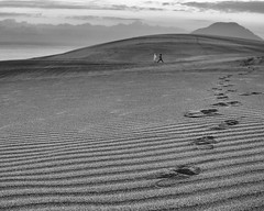 sunrise, sea, sand, and selfies (StephenCairns) Tags: blackandwhite bw sunrise sand earlymorning explore    tottori tottorisanddunes   sandpatterns 30mmsigmaf14 onechance canon50d