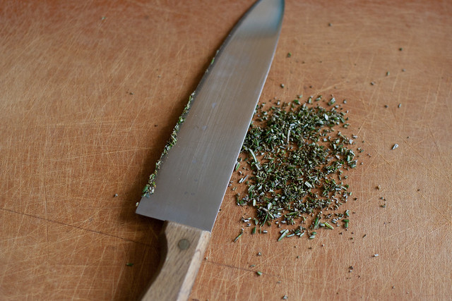 chopping rosemary fine