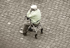Waiting (Poet for Life) Tags: old man colour sepia sitting koblenz selective deutscheseck walkingframe