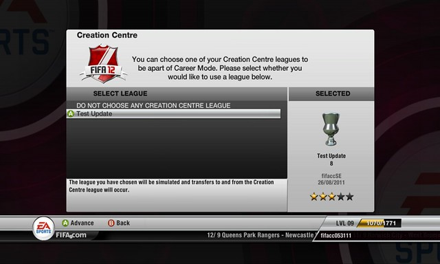 FIFA 12 Creation Centre: Use Created Teams In Career Mode