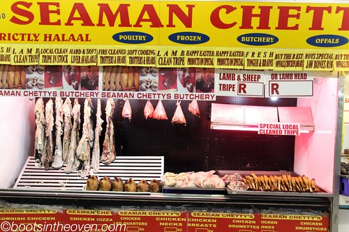 Late in the day at the halal butcher stand