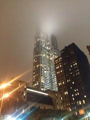Beekman Tower disappears in low clouds (agreatbigcity) Tags: nyc newyorkcity lowermanhattan beekmantower 8sprucestreet newyorkbygehry