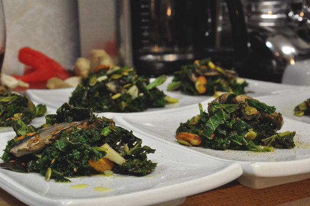 warm kale & spinach salad