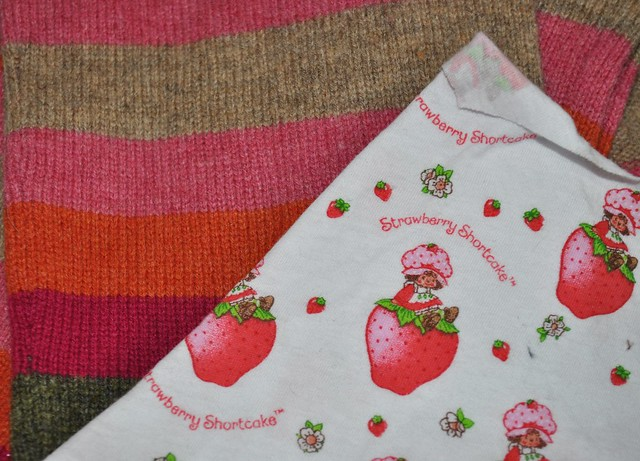 Semi Custom Recycled wool footies Strawberry Shortcake