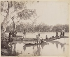 Group of Aboriginals at Chowilla Station on the lower Murray River, South Australia