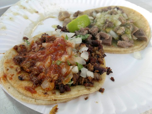 From front: pastor and lengua tacos