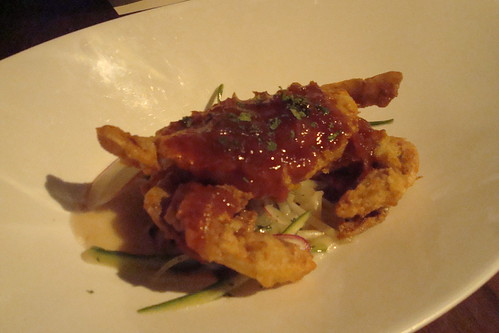Soft Shell Blue Crab, Singapore Chili Sauce, Grapefruit, Apple, Coriander Puree