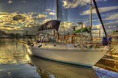 Victoria, BC Harbor (Dustin LeFevre) Tags: sunset canada reflection harbor boat ship columbia victoria sail british