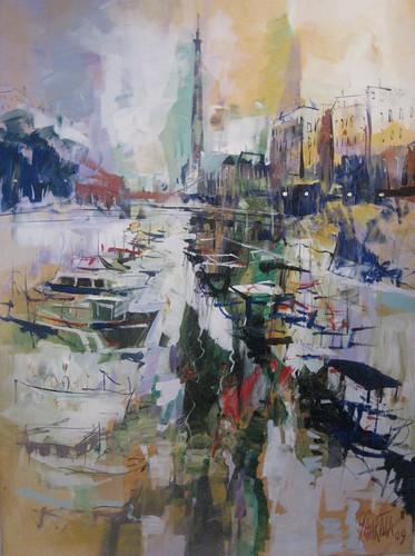 La Seine - Painting - Impressionism