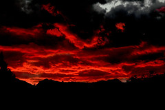 Incendiary (sedonakin) Tags: light sunset red arizona black southwest halloween nature clouds canon landscape desert sedona vista inferno redrocks sunrays cathedralrock sunbeams oakcreekcanyon anticrepuscular blackandred arizonalandscape southwesternlandscape julielake