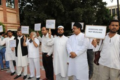 Followers of Shahi Imam Mr. Ahmad Bukhari protesting against Quran Exhibition outside the venue. (Ahsan Ghouri) Tags: islam exhibition quran holyquran ahmadi ahmedi qadian constitutionalclub ahmadiyyat quranandscience quranexhibition islamscience islamandscience constitutionalclubofindia