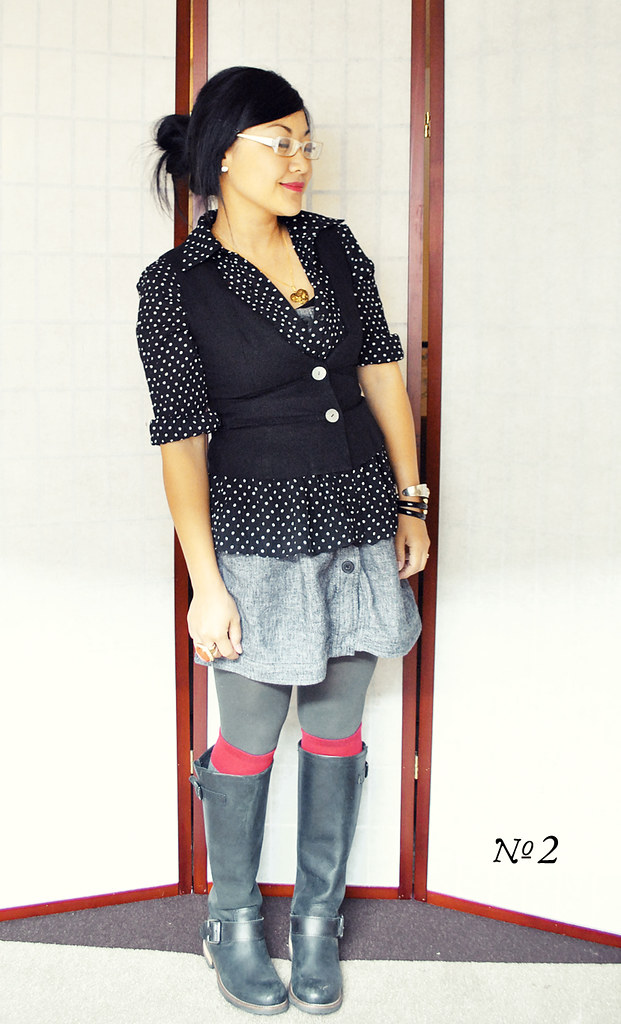 Three Ways to Style Polka Dotted Blouse and Black Vest - Look No. 2 - Vest Buttoned