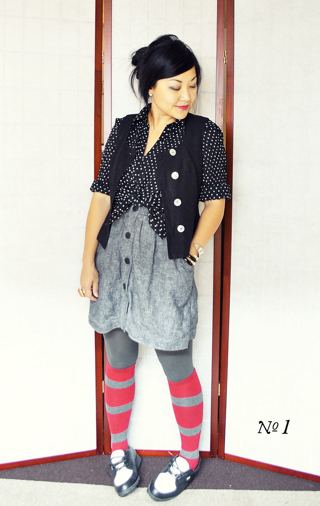 Three Ways to Style Polka Dotted Blouse and Black Vest - Look No. 1 - Knotted