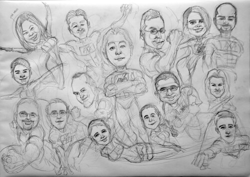 Group superheroes caricatures for AXA - pencil sketch