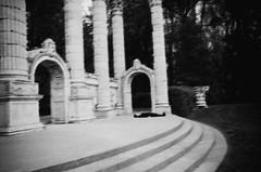 - (Rebecca Cairns) Tags: blackandwhite woman selfportrait abandoned film night death ruins wake sleep ghost structure neopan haunt portraitdunefemme