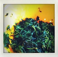 frittata di ortiche: le foglie cotte