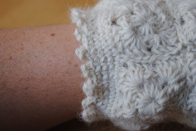 Close up of wrist edging (picot stitch)