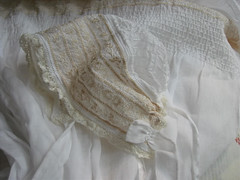 Christening Gown for my Princess - Bonnet (Georgian Bay Dreamer) Tags: lace baptism cotton christening gown bonnet booties puffing batiste heirloomsewing pintucks entredeux laceinsertion