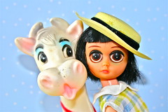 OOOH IS IT MILK TIME? (Toypincher) Tags: hat vintage toy cow eyes sad susie squeak collectable