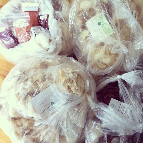 SVFF stuff. Clockwise from top left: rambouillet x, alpaca, merino, cormo. Packets of alkanet, safflower, red sandalwood, sumac.