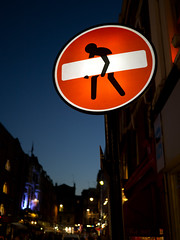 use your knees (jp3g) Tags: square twilight stickman streetsign panasonic 20mm g3 wrongway goback backout