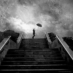 Blowing in the Wind (h.koppdelaney) Tags: life storm man art loss stairs digital umbrella photoshop symbol wind picture philosophy run blow surprise metaphor job psyche symbolism psychology archetype misfortune koppdelaney