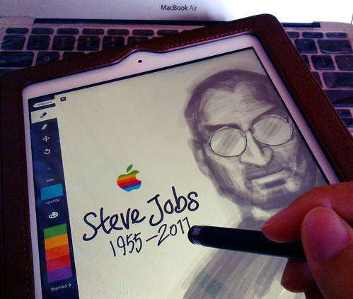 Tribute to Steve Jobs : Drawing Steve on iPad 2