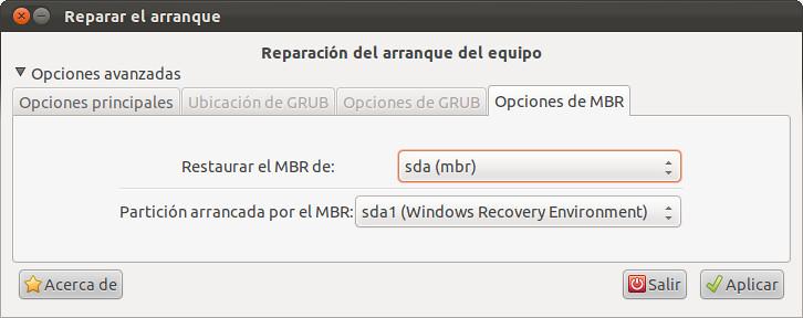Opciones MBR - Boot-Repair