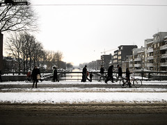 (T W I N K A) Tags: winter sunset snow cold holland netherlands amsterdam bike canal frozen nieve frio