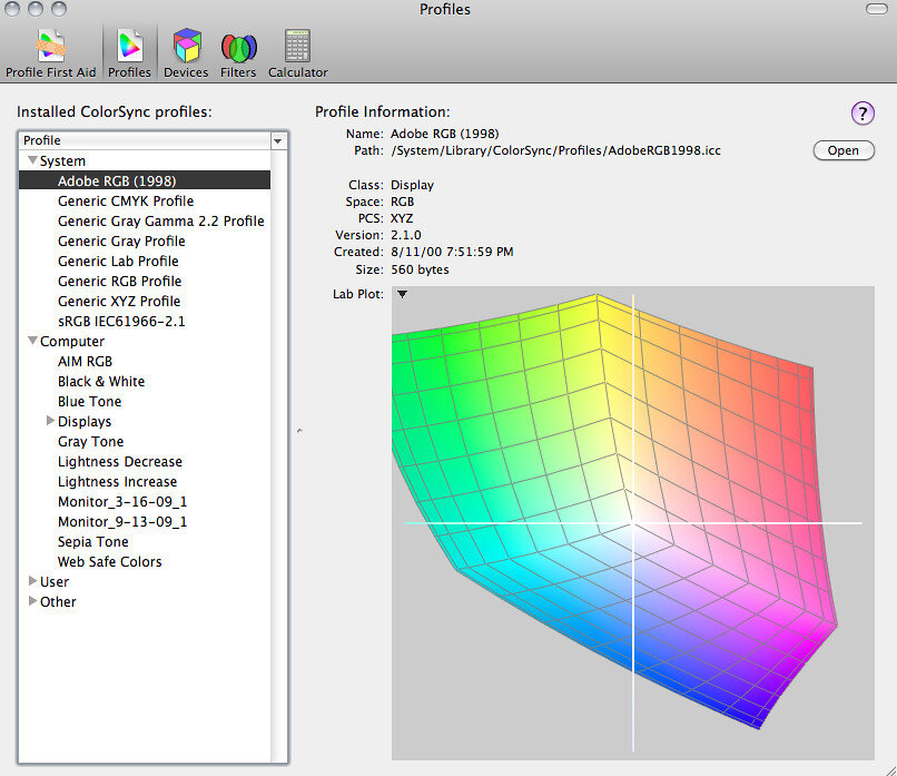 Software to produce Colour Space Diagrams