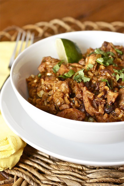 red chile chicken with rice and black beans 1