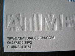 At Media Letterpress Cards (dolcepress) Tags: ny blind cyan magenta longisland businesscards duplex letterpress bohemia doublesided atmedia edgecoloring dolcepress antoinettejohnson tylerwestnedge