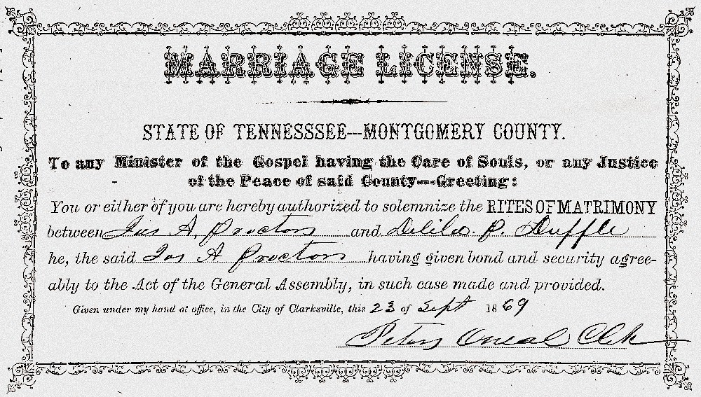James Anderson Proctor and Delila Paralee Duffel Marriage