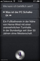 Fragt man Siri (iPhone 4S) nach dem FC Schalke 04. (henningtillmann) Tags: siri schalke s04 bundesliga iphone hernewest iphone4s