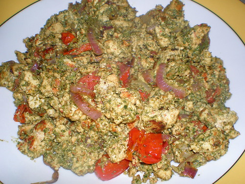 Pesto Scrambled Tofu with Grape Tomatoes