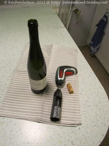 Weinflasche geöffnet