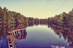 Clio Landing Bridge (frank3.0) Tags: reflection clouds river pier aperture louisiana stock clio bayou cypresstrees livingston canonef50mmf14usm maurepas livingstonparish nikcolorefexpro30 canon5dmkii nikhdrefexpro