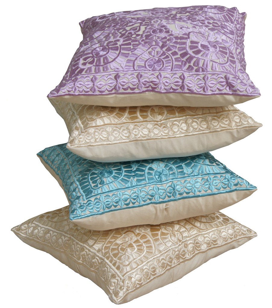 Stylish Moroccan decoration pillows embroidered. © By el Ramla Hamra