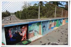 Forbes Mill Footbridge Youth Art (Narwal) Tags: california ca usa art mill youth artwork highway mural footbridge forbes childrens 17 losgatos