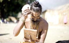 Tilak (PawelBienkowski) Tags: nepal religion hinduism rama tilak auspiciousmarks ascetics hinducustoms maghmela ridibazaar