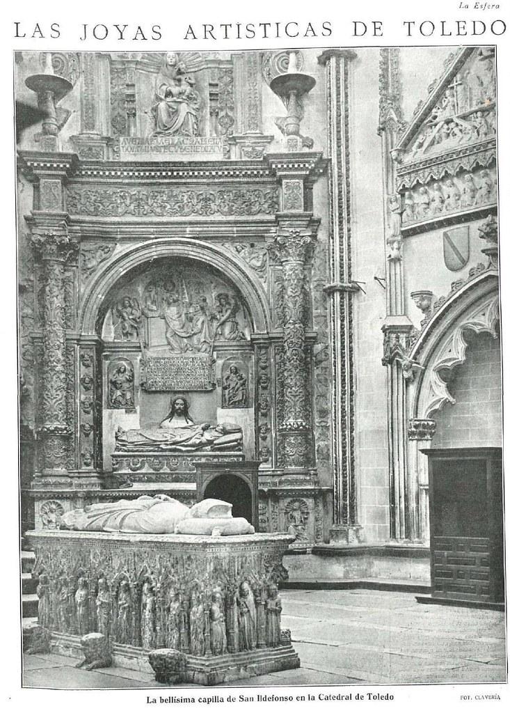 Interior de la Catedral de Toledo en 1925. Fotografía de Narciso Clavería publicada en La esfera