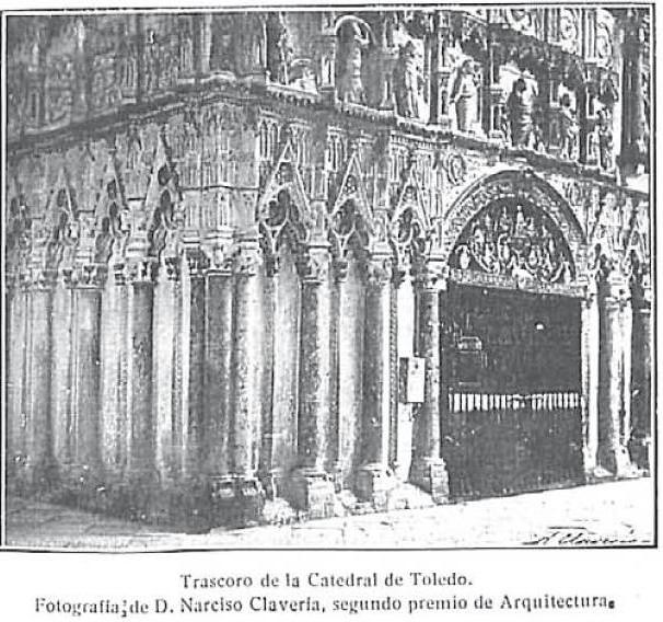 Interior de la Catedral de Toledo hacia 1915. Fotografía de Narciso Clavería publicada en Gran Vida