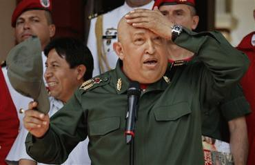 Bolivarian Republic of Venezuela President Hugo Chavez during a welcoming ceremony for Bolivian President Evo Morales in Caracas. The Venezuelan leader says he is going back to Cuba for further medical treatment for cancer. by Pan-African News Wire File Photos