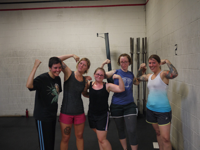 workin out with all my lady friends who recently joined up at crossfit chicago! so stoked for them